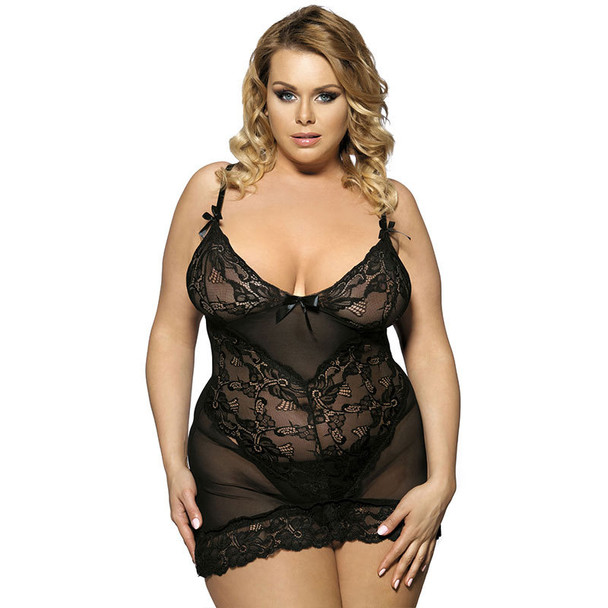 Womens Plus Size Sexy Lace Polyester Nightgown Silk Lingerie