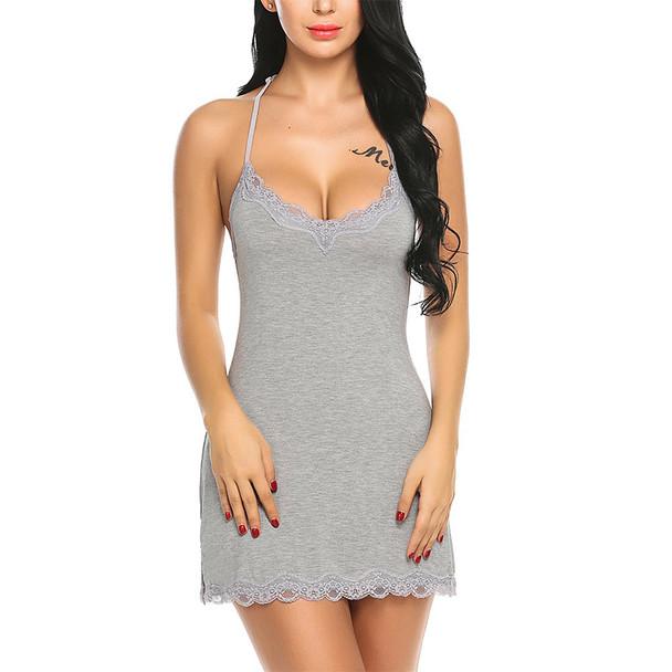 Womens Satin Lace Chemise Sexy Full Slips Sleepwear