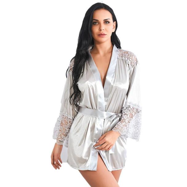 Womens  Satin Silk Bathrobe Nightgown