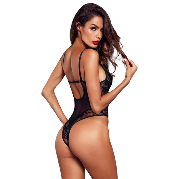 Womens Sexy Lingerie One-piece Lace Tights See-through Open Back