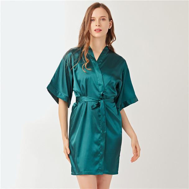 Womens Lmitation Silk Cardigan Nightgown