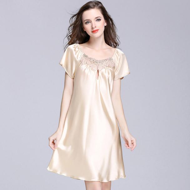 Womens Ice Silk Pajamas Sexy Lace Nightdress