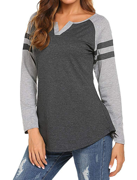Spring Women's Long-sleeved T-shirt Mix Color Loose Shirt