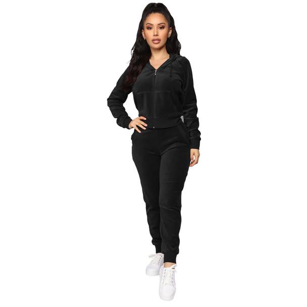 Elastic Waist Two-piece Velvet Hooded Zipper Suit