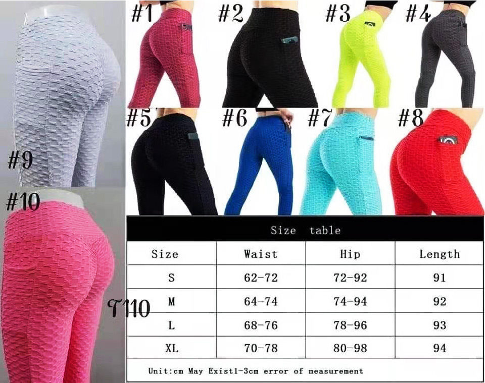 bubble yoga pants with pockets size color chart