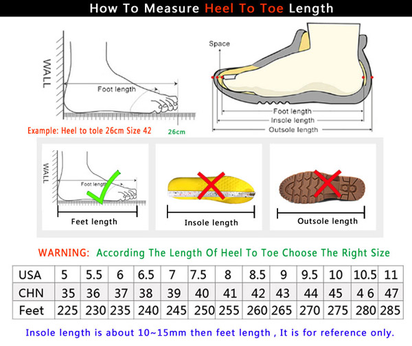Sports Shoes Size Chart
