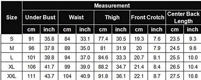 Womens lace size chart  k29