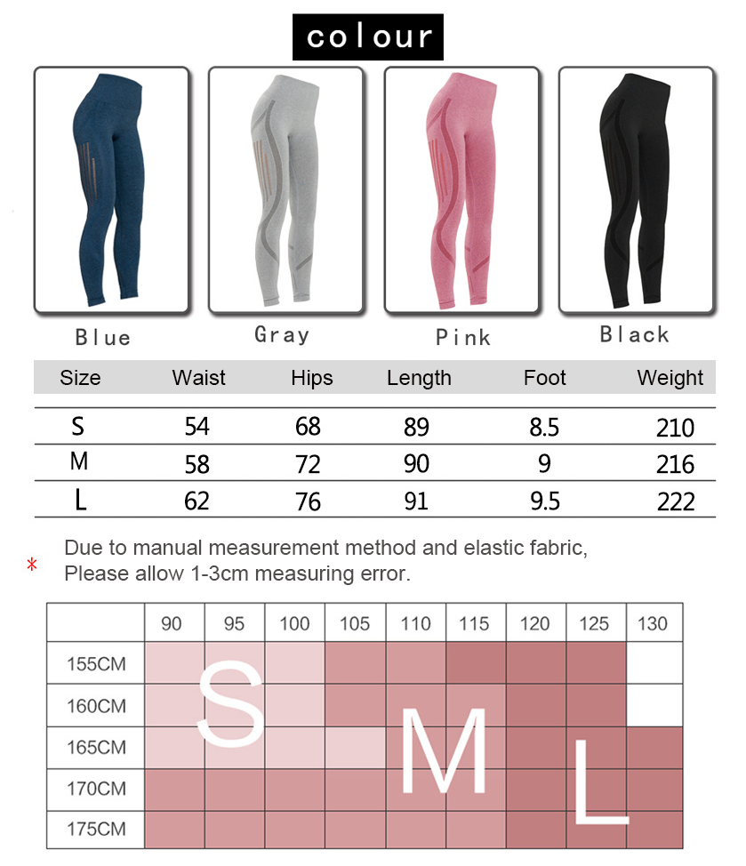 sexy yoga pants size and color chart