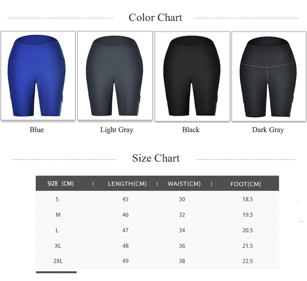 Yoga pants with pockets size and color chart
