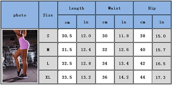 Yoga shorts size chart YG18