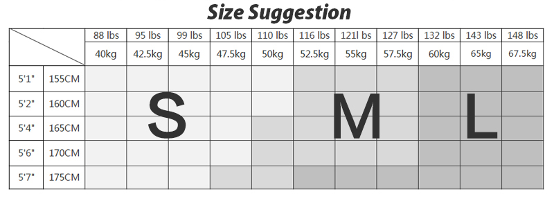 Yoga pants size chart