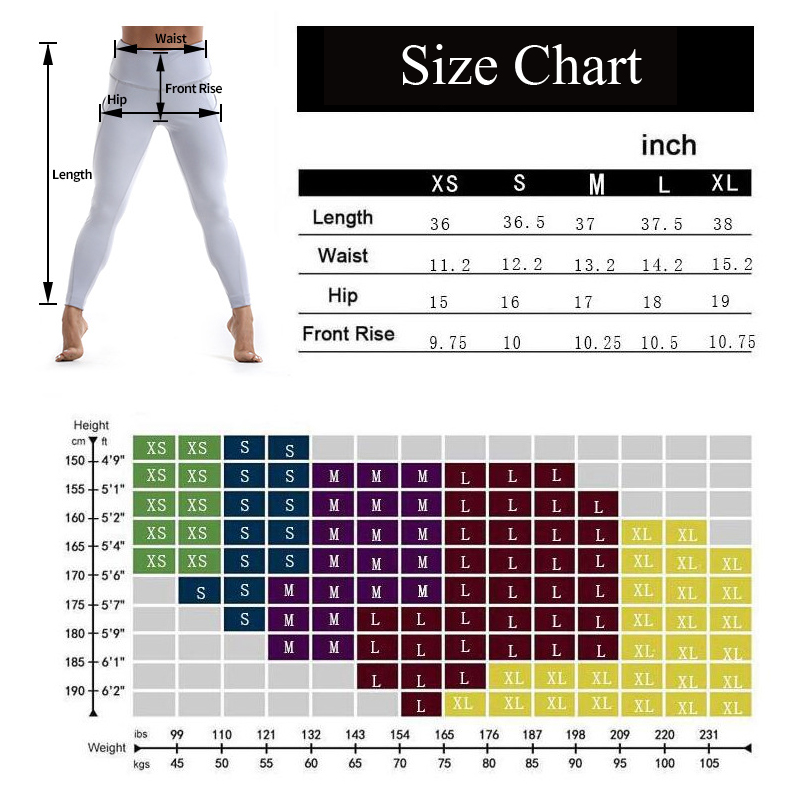 yoga pants with pockets for women size chart