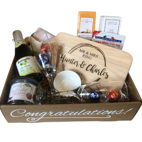 Congratulations Gift Tray with  Engraved Cheese Board