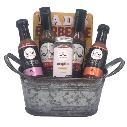 Dad's Two Heads Hot Sauce Gift Bucket