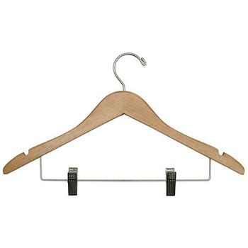 Camden-Boone Open Hook Wood Coat Hanger with Skirt Clips - 116-002