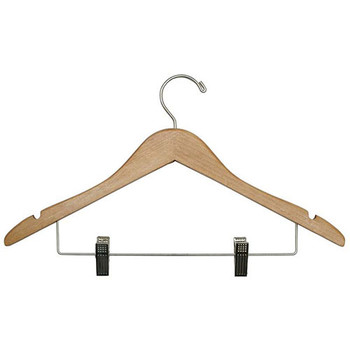 Camden-Boone Open Hook Wood Coat Hanger with Skirt Clips - 116-002