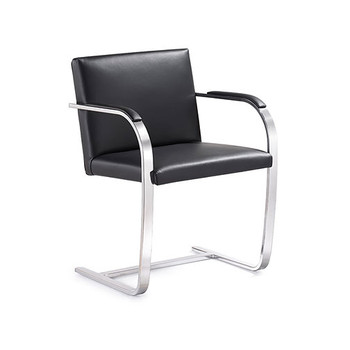 Woodstock Arlo Side Chair - Black Leather - Side Angle View