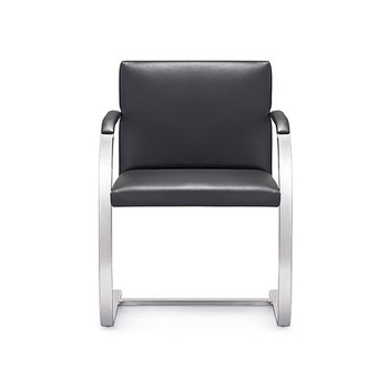 Woodstock Arlo Side Chair - Black Leather - Front View