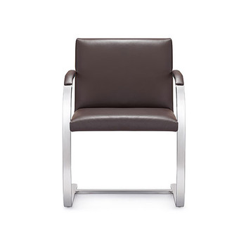 Woodstock Arlo Side Chair - Brown Leather - Front View