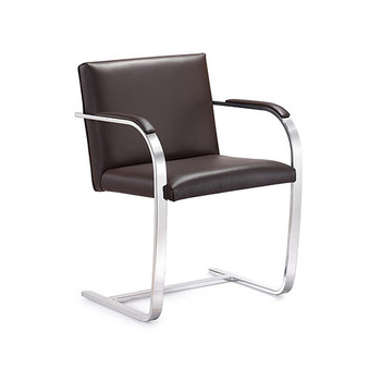 Woodstock Arlo Side Chair - Brown Leather - Side Angle View