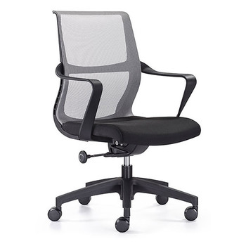 Woodstock Ravi Desk Chair - Black - Mesh Back - Front Side Angle View