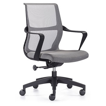Woodstock Ravi Desk Chair - Gray - Mesh Back - Front Side Angle View