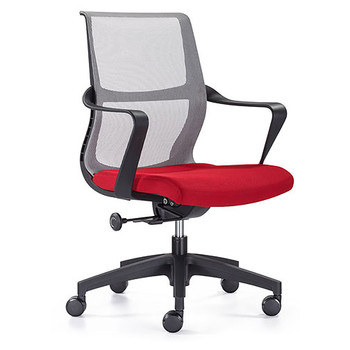 Woodstock Ravi Desk Chair - Red - Mesh Back - Front Side Angle View