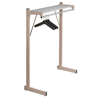 "Magnuson Coat Rack DSF-3HA - 36"" - Free Standing - Single Side - Hanger Rod - Aluminum Shelf  - Image is of 48"" Unit to Illustrate Design - Not to Scale"