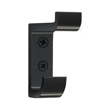 Camden-Boone Extra Heavy Duty Double Prong Aluminum Coat Hook in Black - 121-002