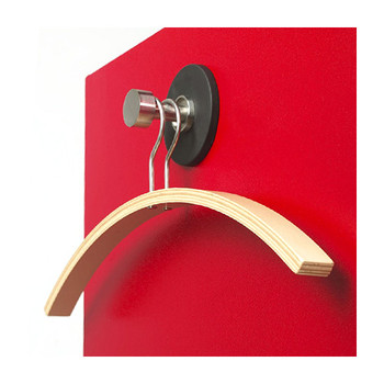 Magnuson Magnetic Coat Hook with Beech Coat Hanger T-HKM on Red Locker