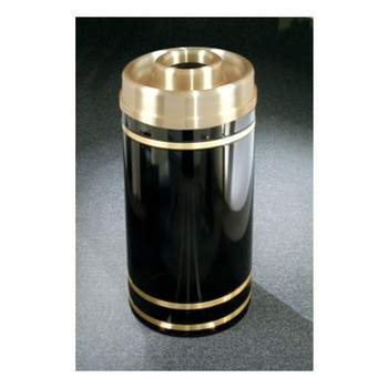 D2055 finished in Satin Black with Satin Brass finished banding and donut top for ash and trash  Please note: Image is not of the D1555 but is representative of the overall design