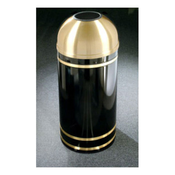 T1555 finished in High Gloss Black with Satin Brass finished banding and open dome top  Please note: This image is not the T1255, but is representative of the overall design