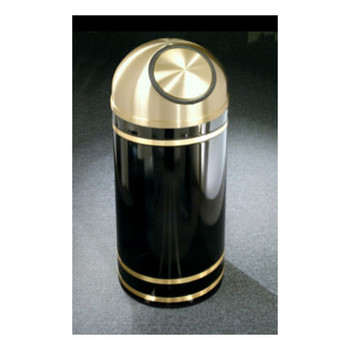 S1555 finished in High Gloss Black with Satin Brass finished banding and self-closing dome top
