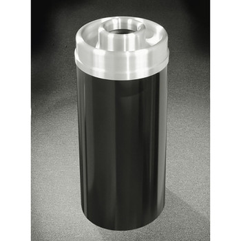 Glaro Mount Everest D1533-XX-SA - Aluminum Finish Donut Top Ash and Trash Receptacle - 15 x 33 - 16 Gallon - finished in Satin Black
