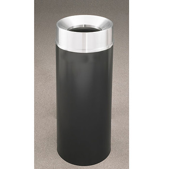 Glaro Mount Everest F1232-XX-SA - Aluminum Finish Funnel Top Trash Can - 12 x 32 - 12 Gallon - finished in Satin Black with a Satin Aluminum top