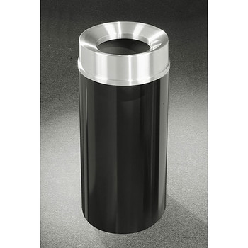 Glaro Mount Everest F1533-XX-SA - Aluminum Finish Funnel Top Trash Can - 15 x 33 - 16 Gallon - finished in Satin Black