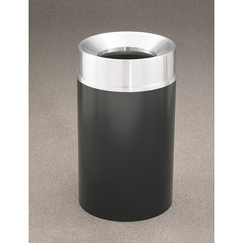 Glaro Mount Everest F2035-XX-SA - Aluminum Finish Funnel Top Trash Can - 20 x 35 - 33 Gallon - finished in Satin Black