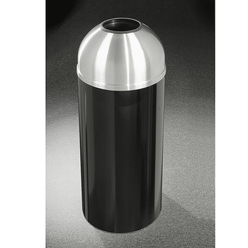 Glaro Mount Everest T1530-XX-SA - Aluminum Finish Open Dome Top Trash Can - 15 x 30 - 12 Gallon, finished in Satin Black