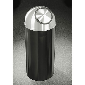 Glaro Mount Everest S1530-XX-SA - Aluminum Finish Self-Closing Dome Top Trash Can - 15 x 30 - 12 Gallon - Finished in Satin Black