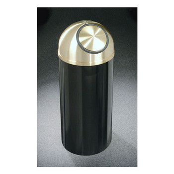Glaro Mount Everest Brass Finish Self-Closing Dome Top Trash Can - 15 x 30 - 12 Gallon - S1530-XX-BE - Finished in Satin Black