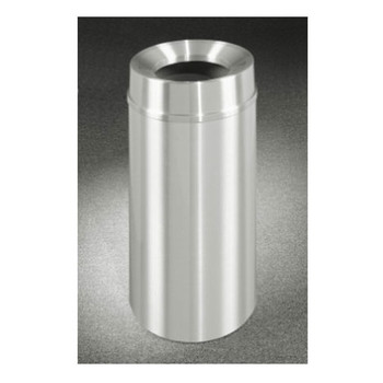 New Yorker Funnel Top Trash Can, 20 x 35, 33 Gallon Capacity. Finishes in Satin Aluminum  Please note images shown represent the design of the unit and are not necessarily proportional to the final product.