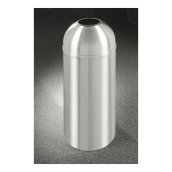 New Yorker Open Dome Top Trash Can, 15 x 30, 12 Gallon Capacity. Finished in Satin Aluminum. Please note images shown represent the design of the unit and are not necessarily proportional to the final product.