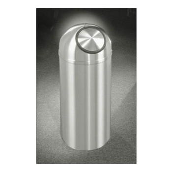 Glaro New Yorker Self-Closing Dome Top Trash Can, 15 x 30, 12 Gallon, S1530SA, finished in Satin Aluminum