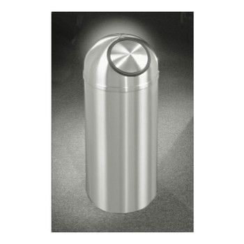 New Yorker Self-Closing Dome Top Trash Can, 15 x 36, 16 Gallon, S1536SA, finished in Satin Aluminum