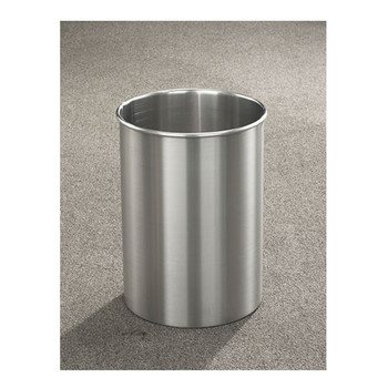 New Yorker Trash Can, 10 x 15, 5 Gallon finished in Satin Aluminum