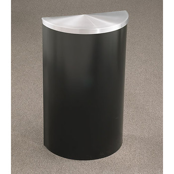 Glaro Profile Half Round Covered Receptacle - 1895 finished in Satin Black with Satin Aluminum top
