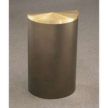 Glaro Profile Half Round Covered Receptacle - 1895 finished in Bronze Vein with Satin Brass top