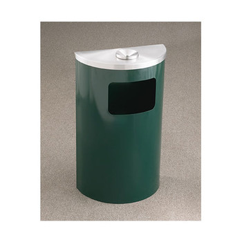 Glaro Profile Half Round Funnel Top Ash and Trash Receptacle - 1894, finished in Hunter Green with a Satin Aluminum top
