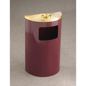 Glaro Profile Half Round Funnel Top Ash and Trash Receptacle - 1894, finished in Burgundy with a Satin Brass top