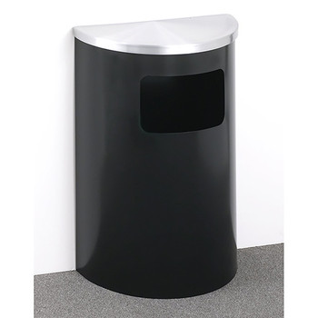 Glaro Profile Half Round Side Opening Trash Can, 1893, finished in a Satin Black body with Satin Aluminum top, Against a Wall